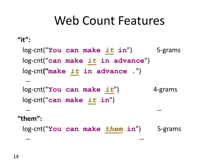 Web Count Features