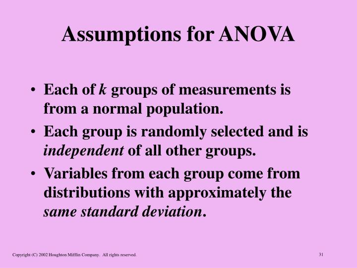 Assumptions for ANOVA