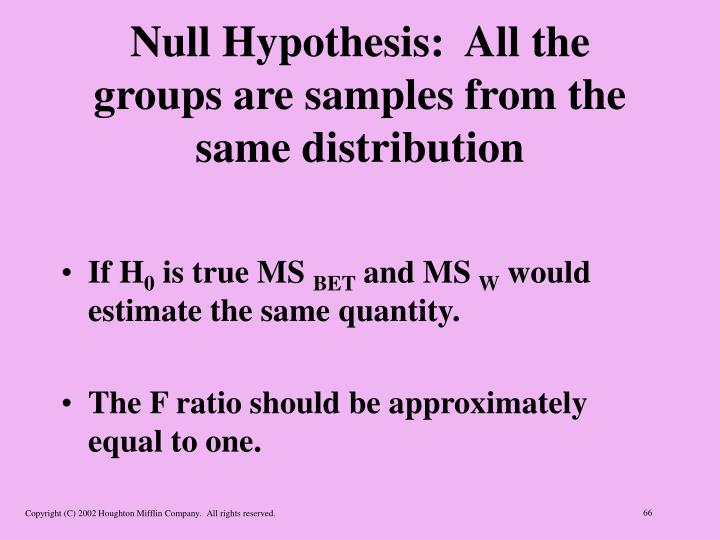 Null Hypothesis:  All the groups are samples from the same distribution