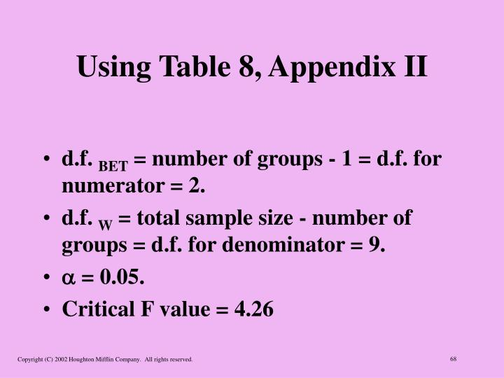 Using Table 8, Appendix II