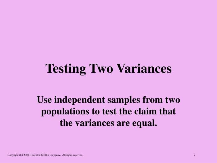 Testing two variances