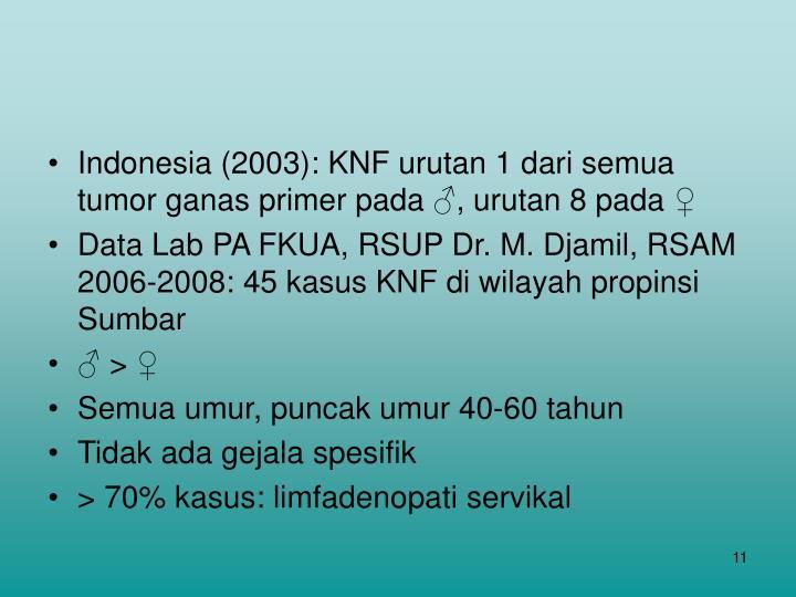 Indonesia (2003): KNF urutan 1 dari semua tumor ganas primer pada