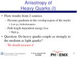 anisotropy of heavy quarks i