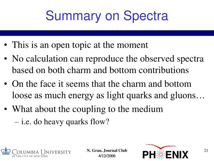 Summary on Spectra