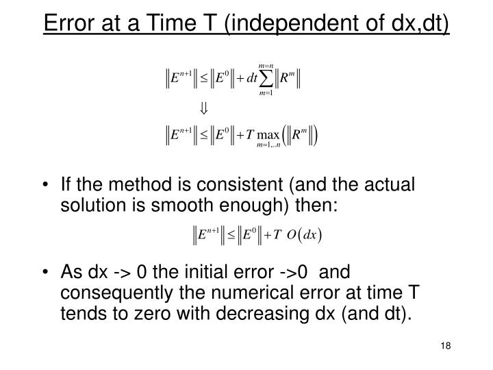Error at a Time T (independent of dx,dt)