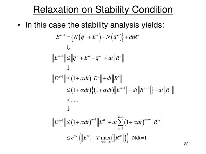 Relaxation on Stability Condition