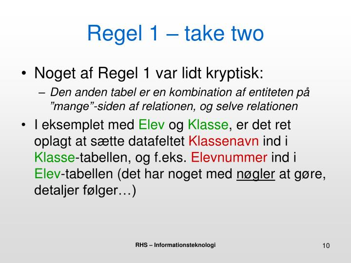 Regel 1 – take two
