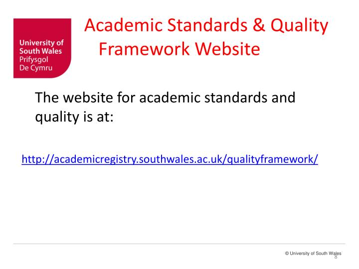 Academic Standards & Quality Framework Website
