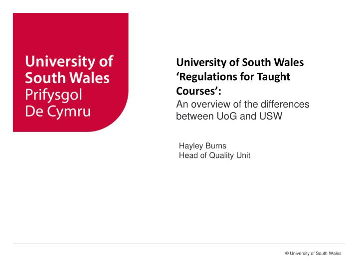 University of South Wales 'Regulations for Taught Courses':