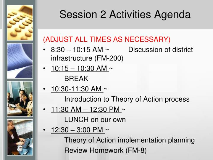 Session 2 Activities Agenda
