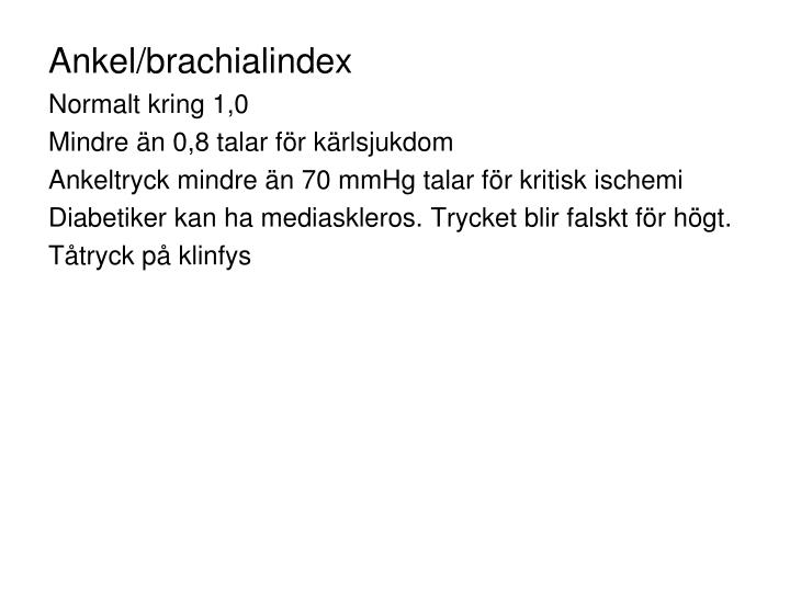 Ankel/brachialindex