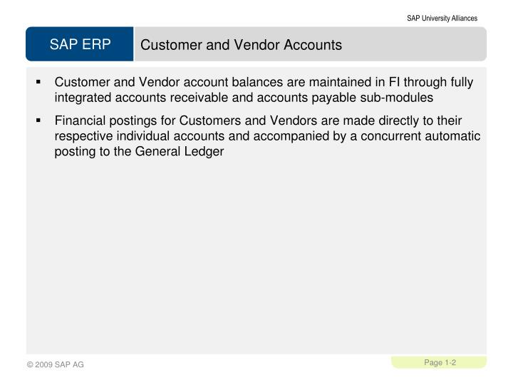 Customer and Vendor Accounts