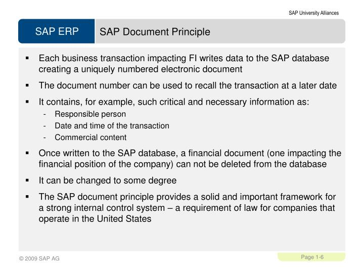 SAP Document Principle