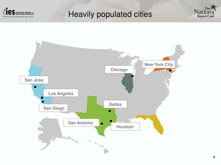 Heavily populated cities