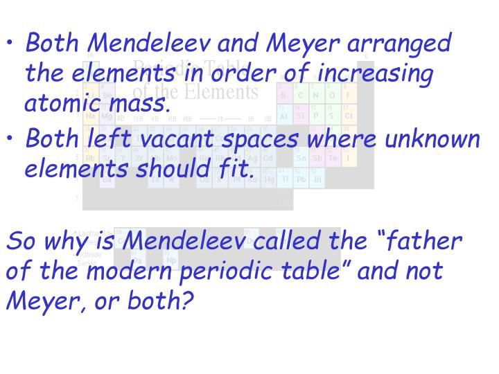 Both Mendeleev and Meyer arranged the elements in order of increasing atomic mass.