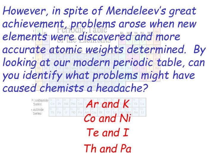 However, in spite of Mendeleev's great achievement, problems arose when new elements were discovered and more accurate atomic weights determined.  By looking at our modern periodic table, can you identify what problems might have caused chemists a headache?