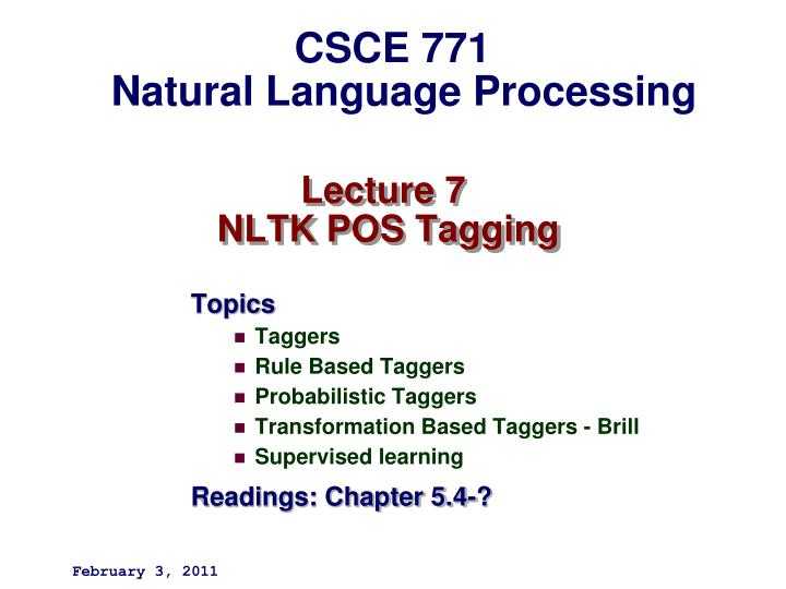 Lecture 7 nltk pos tagging