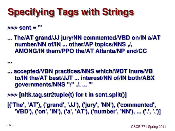 Specifying Tags with Strings
