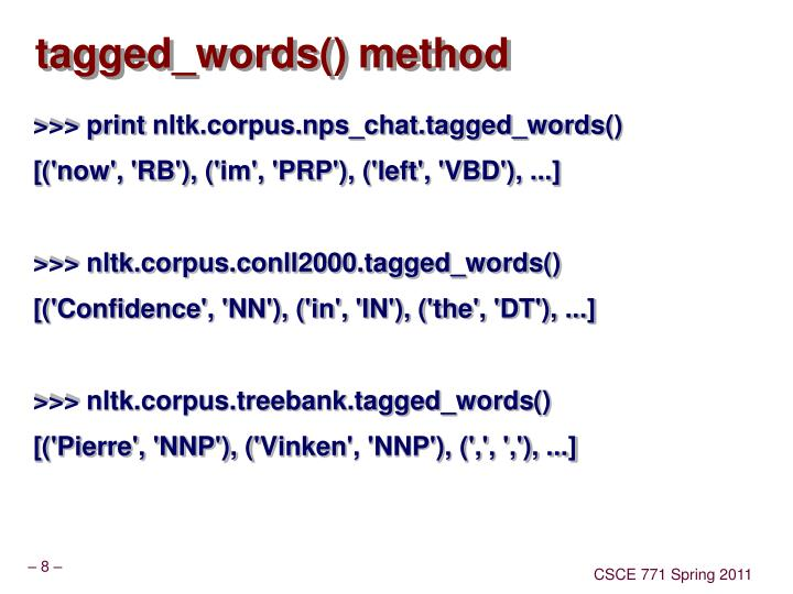 tagged_words() method