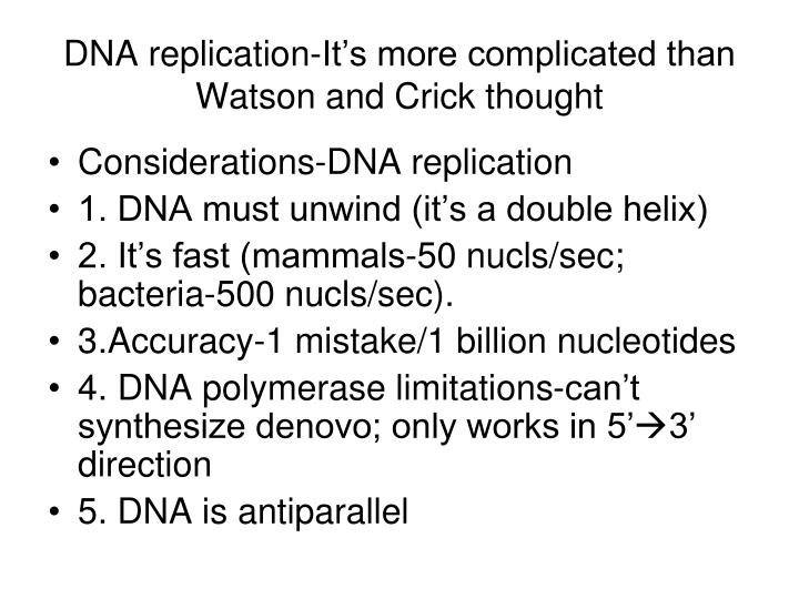 DNA replication-It's more complicated than Watson and Crick thought