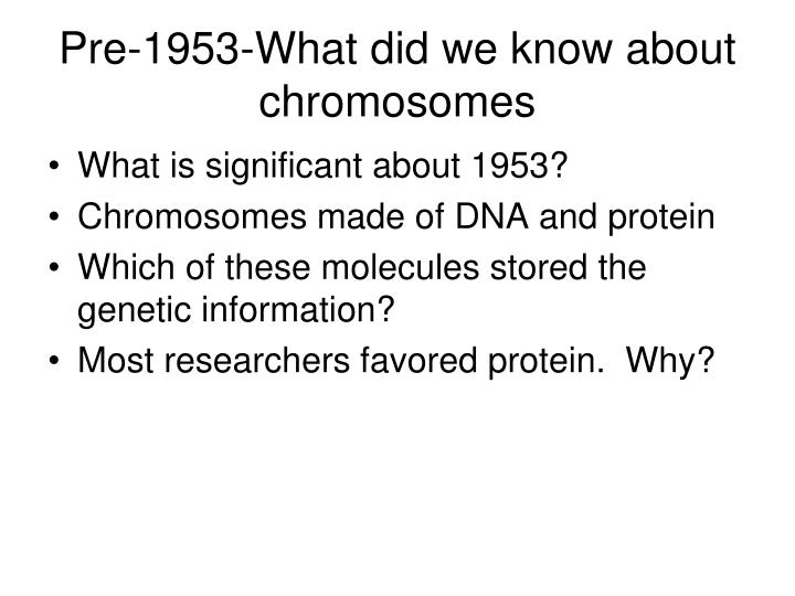 Pre 1953 what did we know about chromosomes
