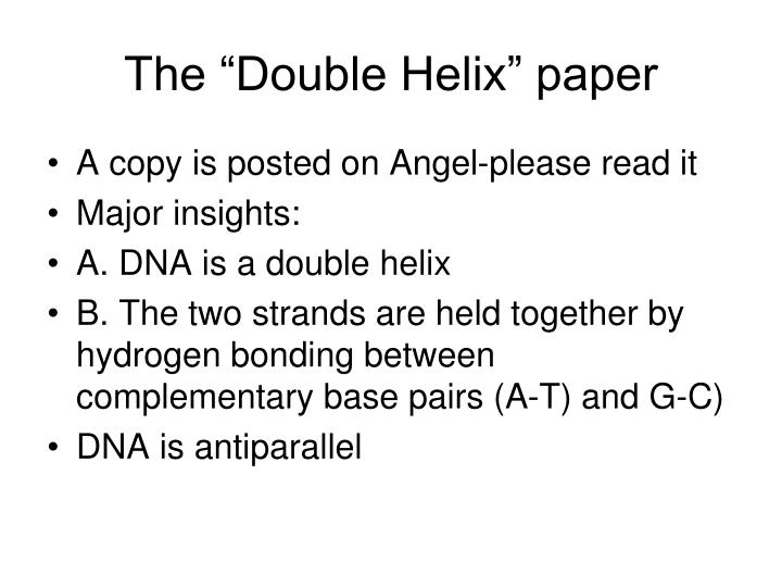 "The ""Double Helix"" paper"