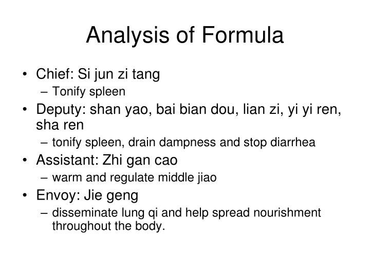 Analysis of Formula