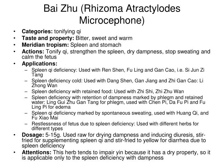 Bai Zhu (Rhizoma Atractylodes Microcephone)