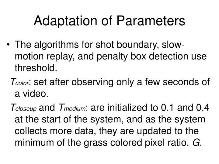 Adaptation of Parameters