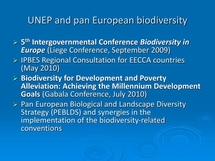 UNEP and pan European biodiversity