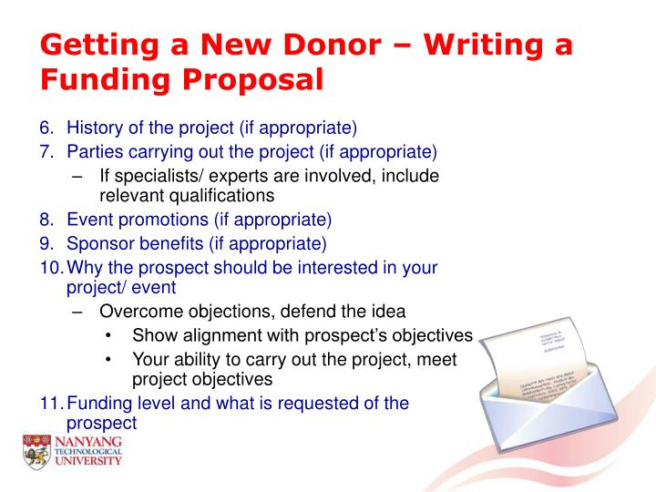 Getting a New Donor – Writing a Funding Proposal