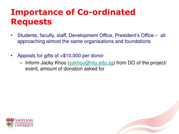 Importance of Co-ordinated Requests