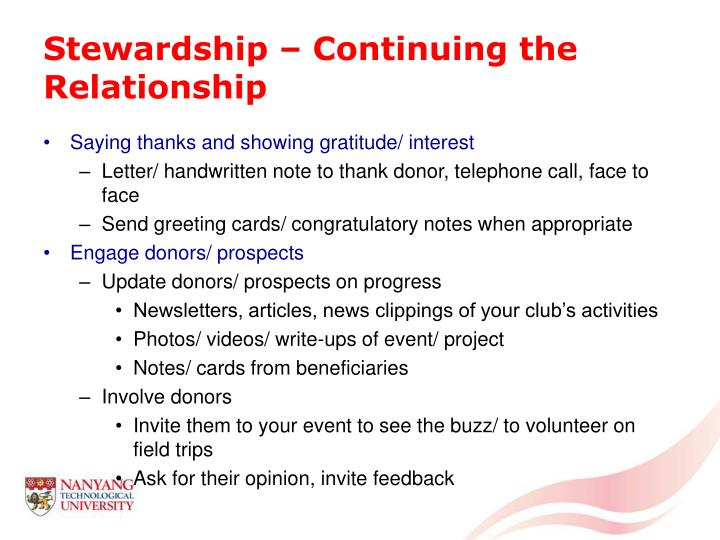Stewardship – Continuing the Relationship