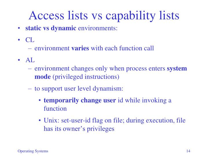 Access lists vs capability lists