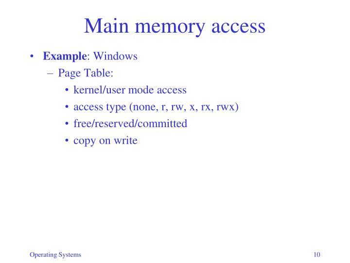 Main memory access