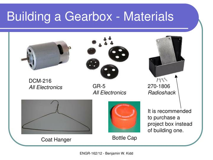 Building a Gearbox - Materials