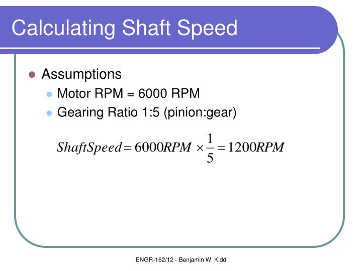 Calculating Shaft Speed