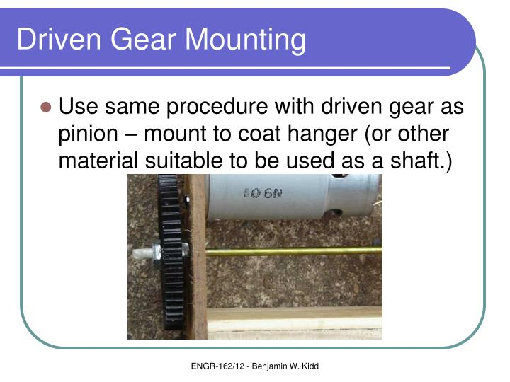 Driven Gear Mounting