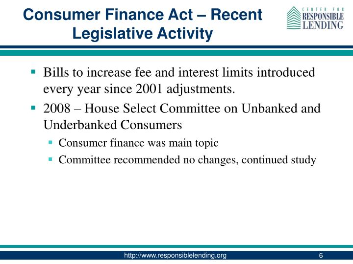 Consumer Finance Act – Recent Legislative Activity