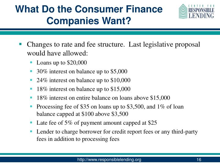 What Do the Consumer Finance Companies Want?