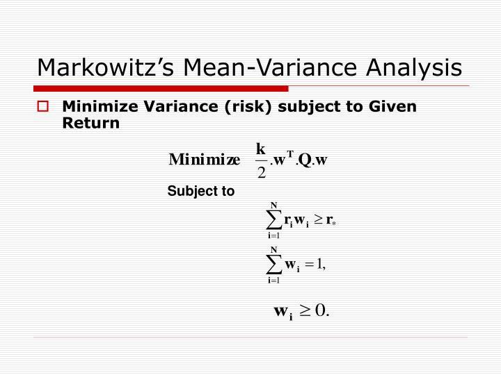 Markowitz's Mean-Variance Analysis
