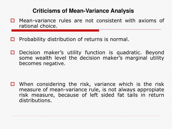 Criticisms of Mean-Variance Analysis