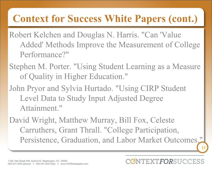 Context for Success White Papers (cont.)