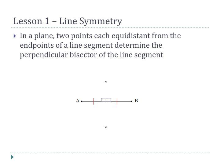 Lesson 1 – Line Symmetry