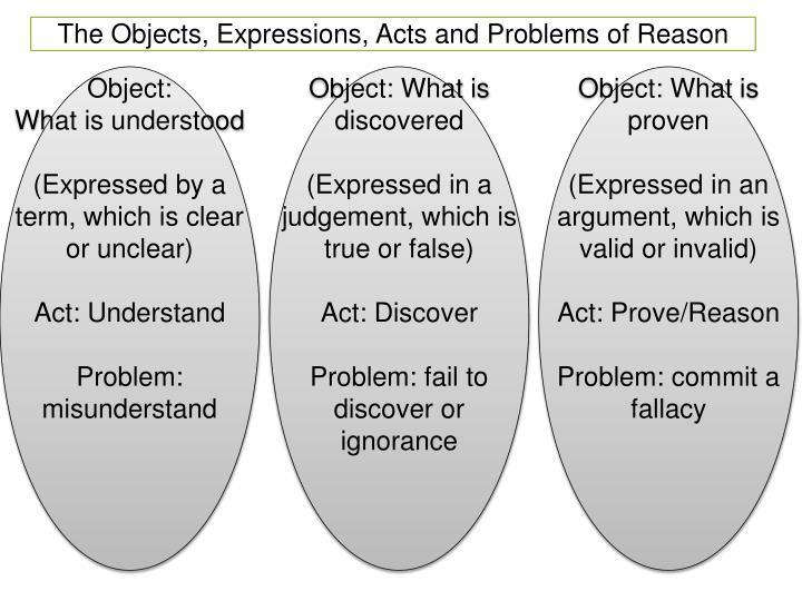 The Objects, Expressions, Acts and Problems of Reason