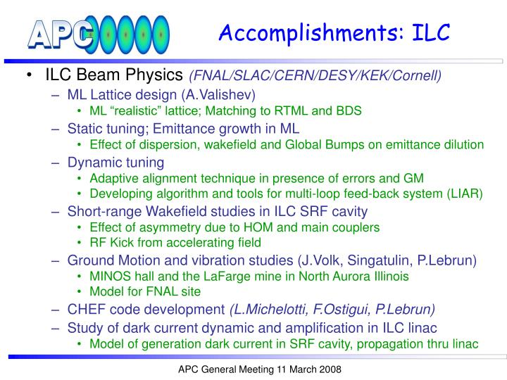 Accomplishments ilc