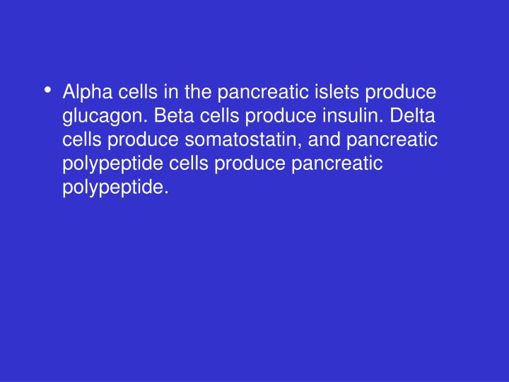 Alpha cells in the pancreatic islets produce glucagon. Beta cells produce insulin. Delta cells produce somatostatin, and pancreatic polypeptide cells produce pancreatic polypeptide.