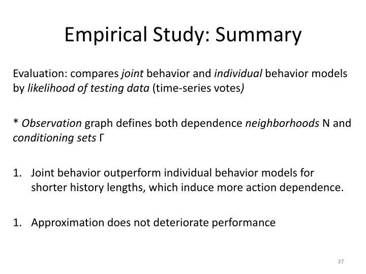 Empirical Study: Summary