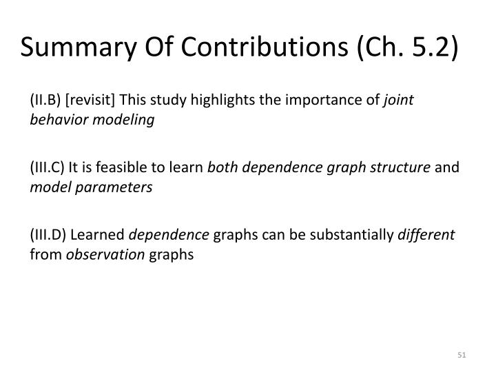 Summary Of Contributions (Ch. 5.2)