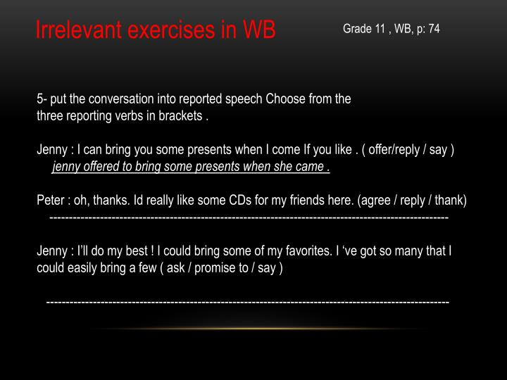 Irrelevant exercises in WB